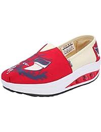 Tenthree Lona Plataforma Mocasines Casual Zapatos - Zapatillas de Deporte Comodidad Mujeres Impreso Chicas Tacón de