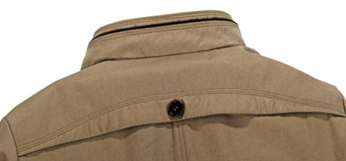 BININBOX® Herbst Herren fashionable Windjacke Jacket Übergangsjacke lange Abschnitte Stehkragen Freizeit Mantel Windbreaker Kaki