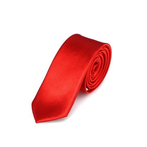 DonDon Schmale rot glänzende handgefertigte Krawatte 5 cm // verschiedene Farben ()