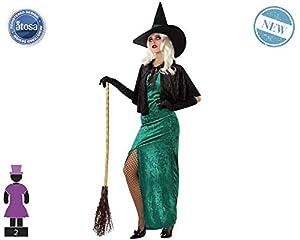 Atosa-61158 Atosa-61158-Disfraz Bruja-Adulto Mujer, Color verde, M a L (61158