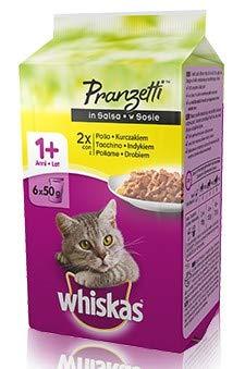 Whiskas Pranzetti Carni Bianche in gelatina 1+ cibo umido per gatti multipack di 6 buste da 50 g