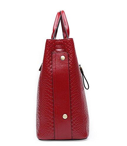 Xinmaoyuan borse Donna Autunno e Inverno Borsette in pelle di coccodrillo pattern del primo strato di pelle ad alta capacità borsa tracolla messenger bag Borsa da donna,Nero Rosso