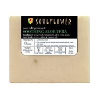 Aloevera Handmade Soap bar with Coconut Oil by Soulflower, (5.3Oz) 100% Natural, Organic, Vegan & Cold processed, USFDA approved -Soothing, Moisturizing and Glowing Skin - Indian Formulation