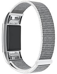 TOPsic Bracelet de Fitbit Charge 2, en Prémium Nylon Tissé, Souple Réglable Bande de Montres de Accessoirede Sangle de Sport Band Pour Fitbit Charge 2 Fitness Wristband (Grande taille)