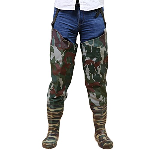 YuanDian Herren Damen Outdoor Camouflage Hüfte Wader Stiefel PVC Gestrick 100% Wasserdicht Angeln Landwirtschaft Nahtlose Rutschfeste Sohle Oberschenkel Hohe Breathable Bootfoot Tarnung 44 (Watstiefel Angeln)