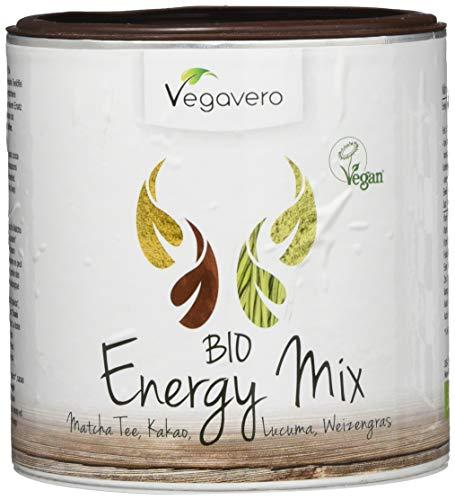 VEGAVERO® BIO SUPERFOOD MIX ENERGY | 200g | Schadstoff-geprüft | Matcha - Lucuma - Weizengras - Kakaopulver | OHNE Zusatzstoffe | Vegan - Mix Plus Match