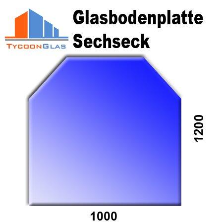 Glasbodenplatte für Kaminöfen Sechseck 1000x1200 6mm