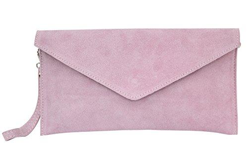 AMBRA Moda Damen Wildleder Clutch Abendtasche Partytasche Handschlaufe Suede Handgelenktasche Schultertasche Umhaengtasche Unterarmtasche Damentasche Veloursleder WL801 (Rosa)