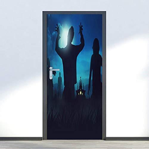 DNFurniture Halloween Zombie Kunst dreidimensional visuell zuhause Landschaft tapete Aufkleber Urlaub Dekoration europäisch wandaufkleber Geschenk 77X200CM (1 Teil Halloween-zombies,)