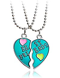 ee1b96add2f3 Ogquaton Collar de la mejor calidad de Good Friends Love English Colgante  de dos diamantes de