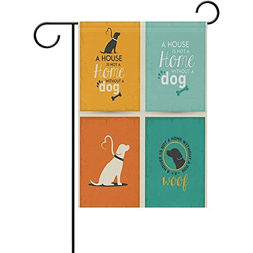 HujuTM Vintage Cute Dachshund Dog Polyester Garden Flag House Banner 12 x 18 inch, Two Sided Welcome Yard Decoration Flag for Wedding Party Home Decor