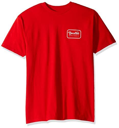 Brixton Herren Grade S/S STND Tee T-Shirt, rot/weiß, Mittel -
