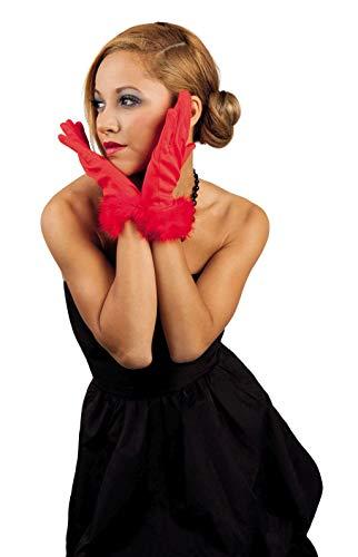 narrenkiste B03109 rot Damen Handschuhe mit Marabu Rand