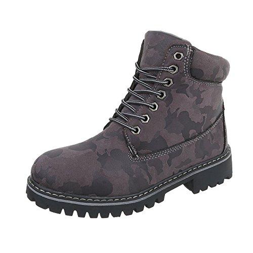 Multi H945 Femme a Bottines et Chaussures Design Bottes Bottines Lacet Ital gris Bloc f7SPFq4