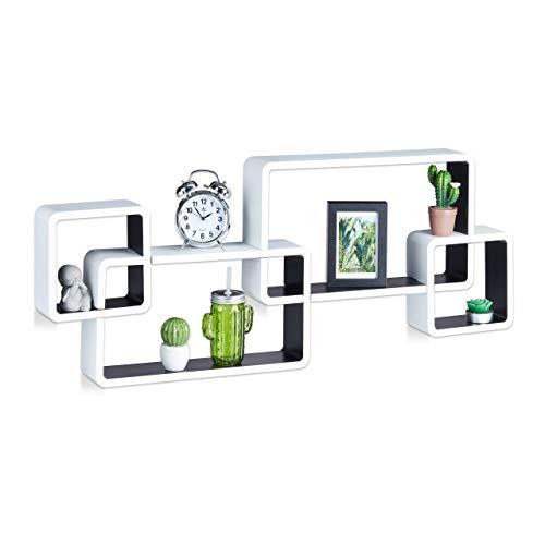 Relaxdays 10021901_362 mensole da muro cube, 4 cubi da parete, design moderno, legno mdf, hxlxp: 42x104x10 cm, bianco-nero