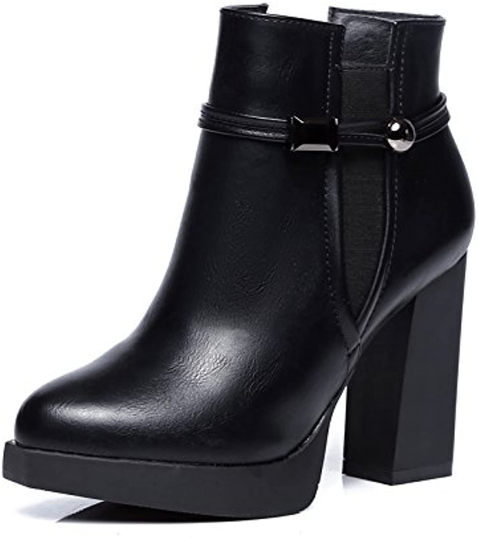 ZHZNVX Hsxz scarpa da donna in similpelle Winter Fluff fodera stivali stivali moda grosso tacco a punta stivaletti... | Ricca consegna puntuale  | Uomo/Donna Scarpa