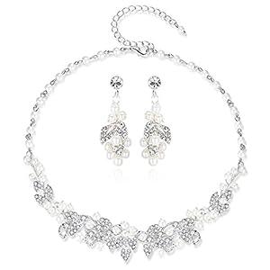 HONEY BEAR Brautschmuck Halskette und Ohrring Set für Frauen Hochzeit, Dangle, simulierte Perlen und Strass,Silber,MEHRWEG