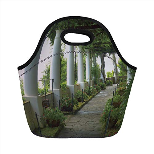Jieaiuoo Portable Lunch Bag,Italian Decor,Terrace with The Seascape on Island of Capri Italy Flowers Swirls,Forest Green and White,for Kids Adult Thermal Insulated Tote Bags -