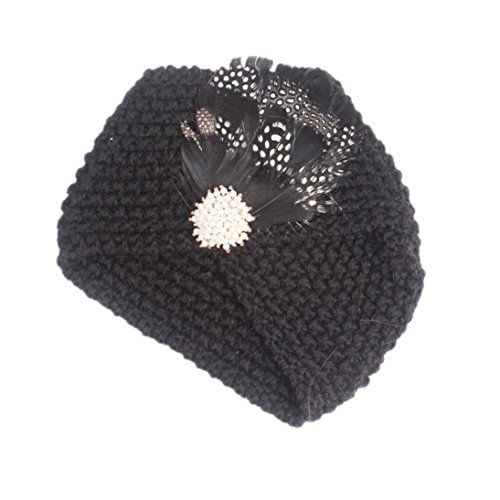 ädchen Stricken Hut Beanie Turban Kopf Wrap Winter Warme Kappe Pile Cap für 1-6 Jahre (One size, Schwarz) (Halloween-hut Stirnbänder)