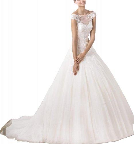 GEORGE BRIDE Tuell Prinzessin Hochzeitskleid mit Spitze bateau Illusion Ausschnitt Brautkleider...
