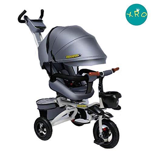 XRQ Faltbares Kinderdreirad, Kinderwagen, Liegender Kinderwagen Für Jungen Und Mädchen Von 1-6 Jahren,Grau