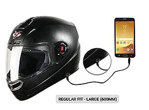 Steelbird SBA-1 7Wings HF Dashing Full Face Helmet with Plain Visor and Detachable Handsfree Device (REGULAR FIT LARGE 600 MM, BLACK)