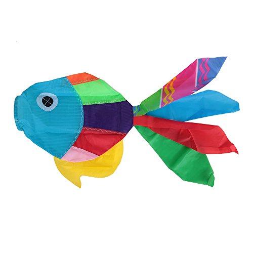 Festnight 70cm Länge Multicolor 3D Kites Nette Fisch-Art Drachen Fly Schwanz Kinderdrachen Ripstop Sail Kite Outdoor-Spielzeug Spaß Sport