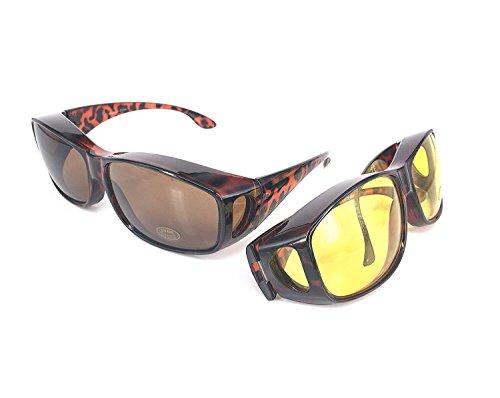 ACHATPRATIQUE Sonnenbrille ¨¹ber Brille | Set von 2 Stk | F¨¹r treibende Tage und NACHT | Anti UV402 Schutz | Wraparound Fit ¨¹ber Brille