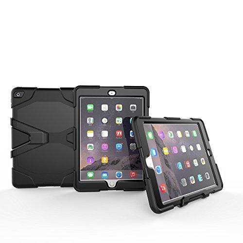 Outdoor Hülle für IPad Air 2 Cover 3in1 Stoßfest Hybrid Hardcase und Weiche Silikon Schutzhülle Tasche Case (Schwarz) (Best Cases Für Ipad Air 2)