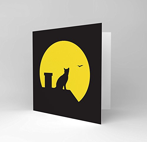 CAT MOON ROOF SILHOUETTE ILLUSTRATION BIRTHDAY CARD CS070 (Affiches Halloween)