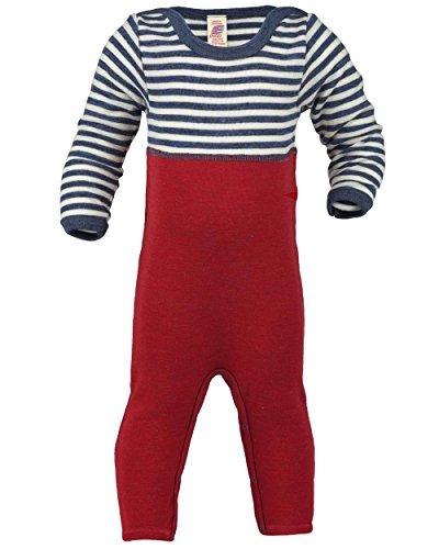 Engel Natur, Baby Overall / Anzug mit Umschlag an den Beinen, 100% kbT Wolle (74/80, Blau melange/Natur)