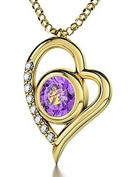 Vergoldete Horoskop Herzkette Sternzeichen Jungfrau Graviert mit 24k Gold auf 8mm Swarovski Anhänger, 8 Zirkonia...