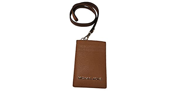 3444aac16ea22 Michael Kors Jet Set Travel Saffiano Leather Lanyard ID Card Case Acorn   Amazon.co.uk  Clothing