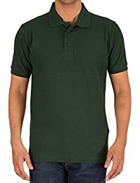 Shadez Men's Cotton Plain Polo T-shirt(Bottle Green)
