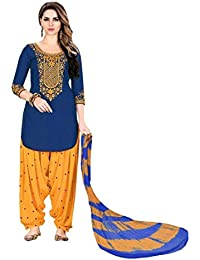 Blue Color Cotton Fabric Embroidered Work Semi Stitched Patiala Suit