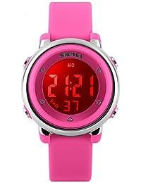 Fenkoo Niño Reloj Deportivo Digital LED / Termómetro / Calendario / Resistente al Agua / Dos Husos Horarios / alarma / Reloj Deportivo Caucho