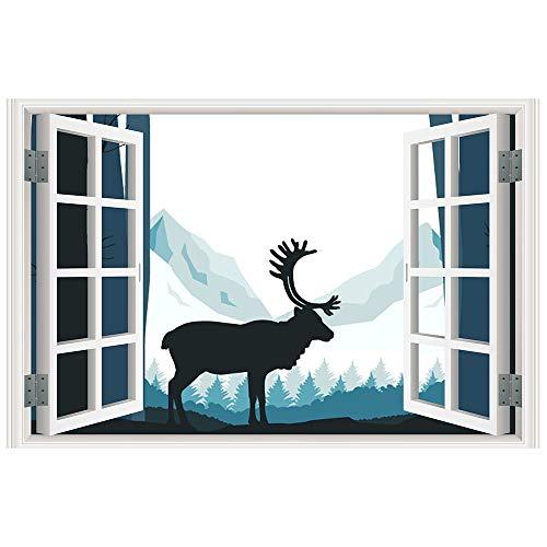 rbe Hoch Definition Natur Szenerie Falsch Imitat Fenster Rahmen Wand Abziehbilder (D) ()
