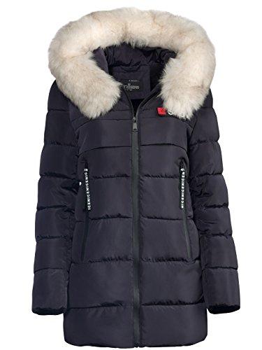 Trisens Damen Winter Parka Jacke Land Fell Kapuze WARM GEFÜTTERT TAILLIERT, Farbe:Dunkelblau, Größe:M
