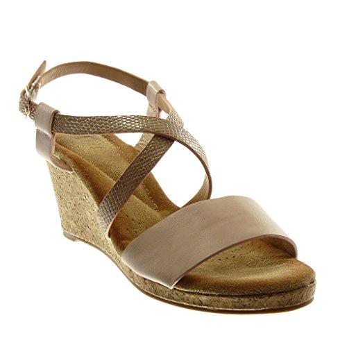 Angkorly Damen Schuhe Sandalen Mule - Knöchelriemen - Multi-Zaum - Schlangenhaut - Kork Keilabsatz 7.5 cm - Rosa XH1050 T 38