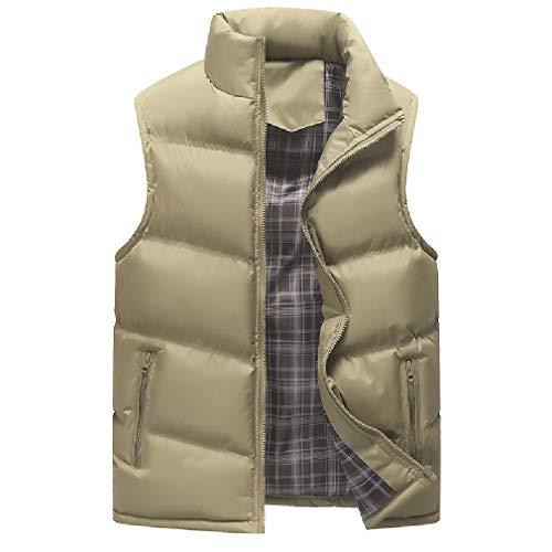 CuteRose Mens Warm Casual Sleeveless PEA Coat Classic-Fit Dress Waistcoat Khaki M Tall Classic Peacoat
