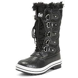 Polar Womens Snow Boot Nylon Tall Winter Snow Waterproof Warm Rain Boot - Schwarz/Schwarz - 42 - ZZCD0025