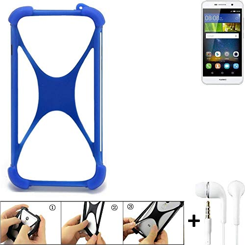 K-S-Trade Handyhülle für Huawei Y6Pro LTE Bumper Schutzhülle Silikon Schutz Hülle Cover Case Silikoncase Silikonbumper TPU Softcase Smartphone, Blau (1x), Headphones