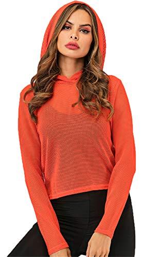 Langarm Kapuze Hoodie Netz Fischnetz Kurze Crop Sweatshirt T-Shirt Bluse Hemd Oberteil Top Orange S - Fischnetz Langarm