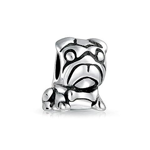 Bling Jewelry pendentif en argent Cordon Bulldog inscrit Animal