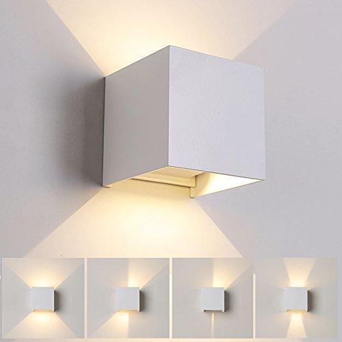 12w led moderno lampade da parete per interni/esterno, applique da parete muro in alluminio angolo, illuminazione a parete su e giù regolabile design ip65 impermeabile 3000k bianco caldo (bianco)