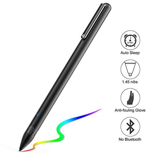 Active Stylus Stift für sämtliche Touchscreens. Wiederaufladbarer Eingabestift Pencil mit 1,45mm feiner Spitze, der kapazitive Stylus ist kompatibel für Apple iPad, iPhone und Samsung Tablets (Black)