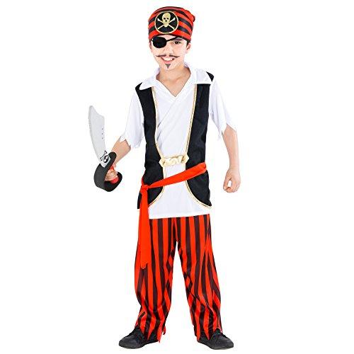 TecTake dressforfun Jungenkostüm Captain Messerjockel | inkl. modernem Dreieckstuch und rotem Bindegürtel (7-8 Jahre | Nr. - Sexy Kostüm Sturm