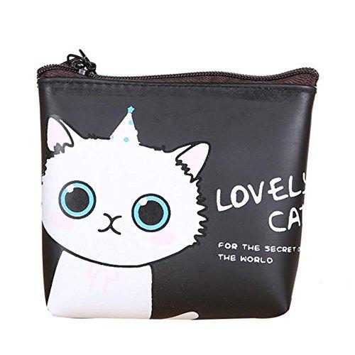 Longra Donne Bambine gatto sveglio della moneta di modo del raccoglitore della borsa B