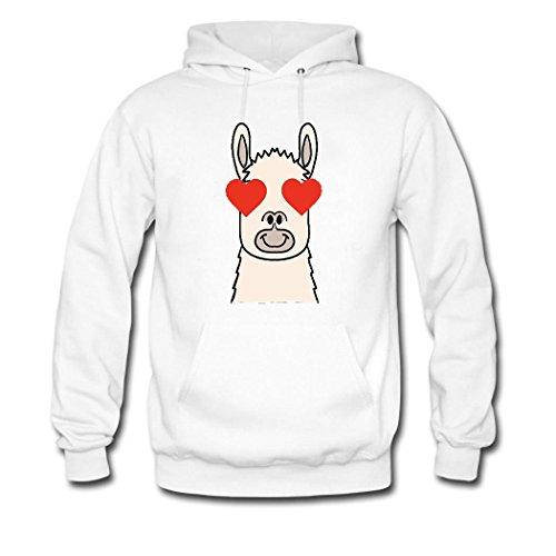 HKdiy Llama Heart Custom Classic Men Hoodie White-1
