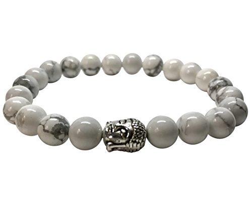 GOOD.designs Buddhismus Perlenarmband aus echten Howlith-Natursteinen und edler Buddha-Kopf Perle, Chakra-Schmuck für Damen und Herren (Howlith)